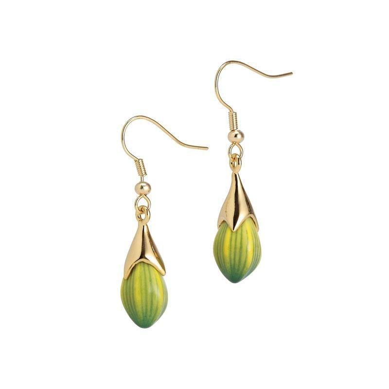 Franz Collection Green Orchid Flower Earrings Pierced FJ00265