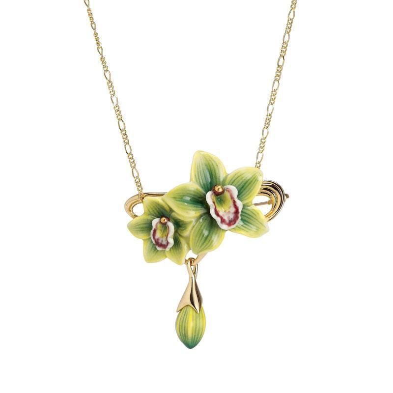 Franz Collection Green Orchid Flower Necklace Brooch FJ00264