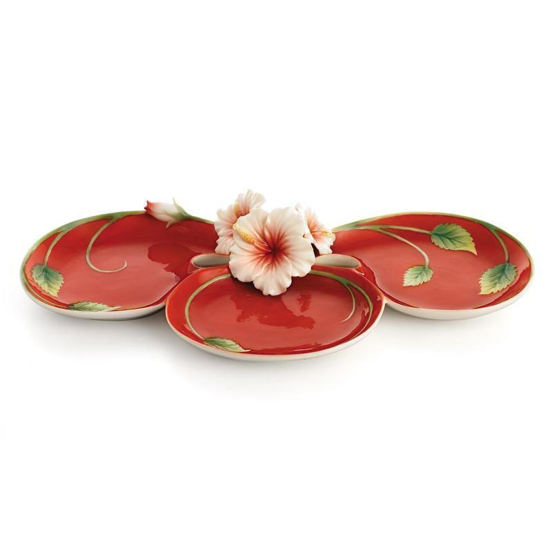 Franz Collection Hibiscus Red Dish FZ01533