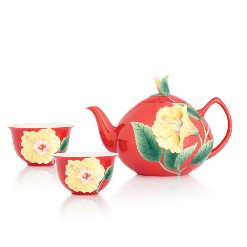 Franz Collection Hibiscus Red Teapot Teacup Set FZ03041