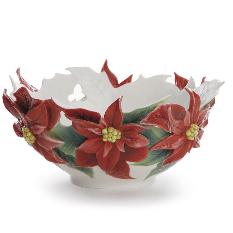 Franz Collection Holiday Classic Poinsettia Bowl FZ01983