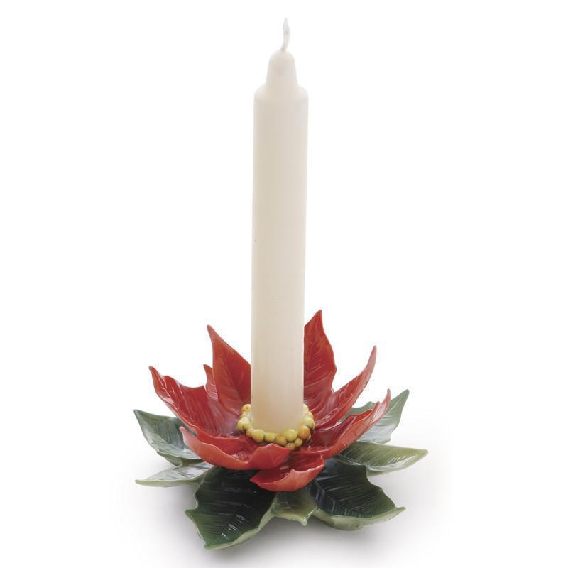 Franz Collection Holiday Classic Poinsettia Candleholder FZ01989