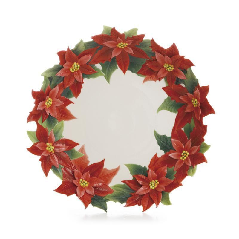 Franz Collection Holiday Classic Poinsettia Plate FZ01985