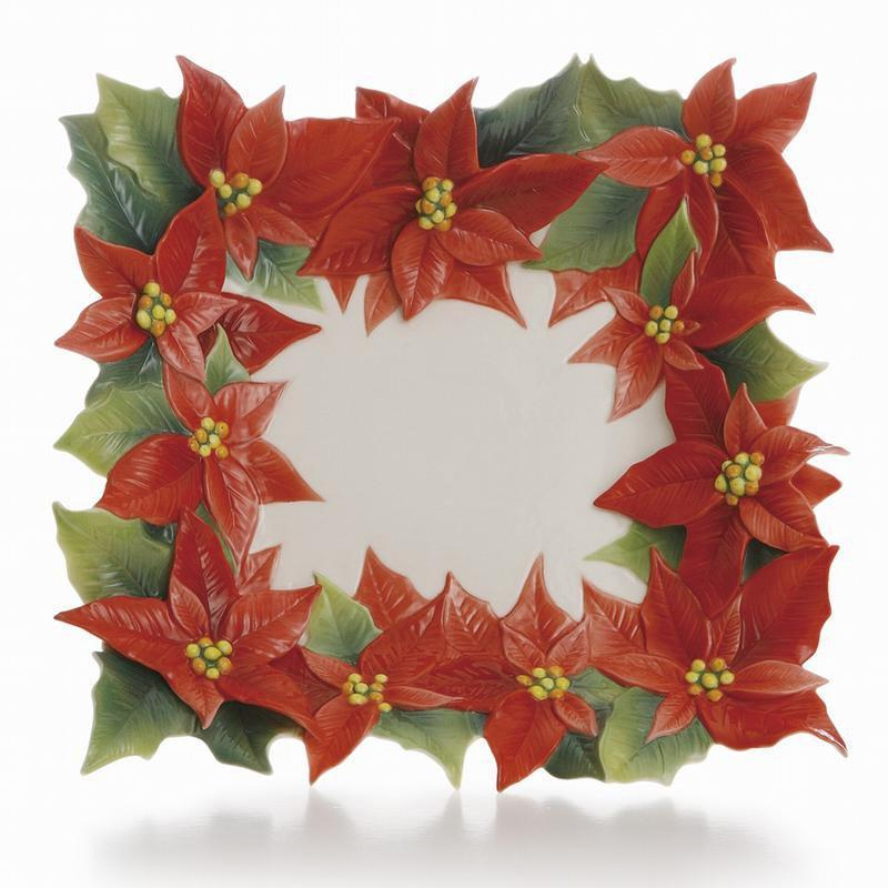 Franz Collection Holiday Classic Poinsettia Square Plate FZ01988