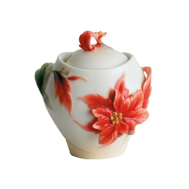 Franz Collection Holiday Classic Poinsettia Sugar Jar FZ00894
