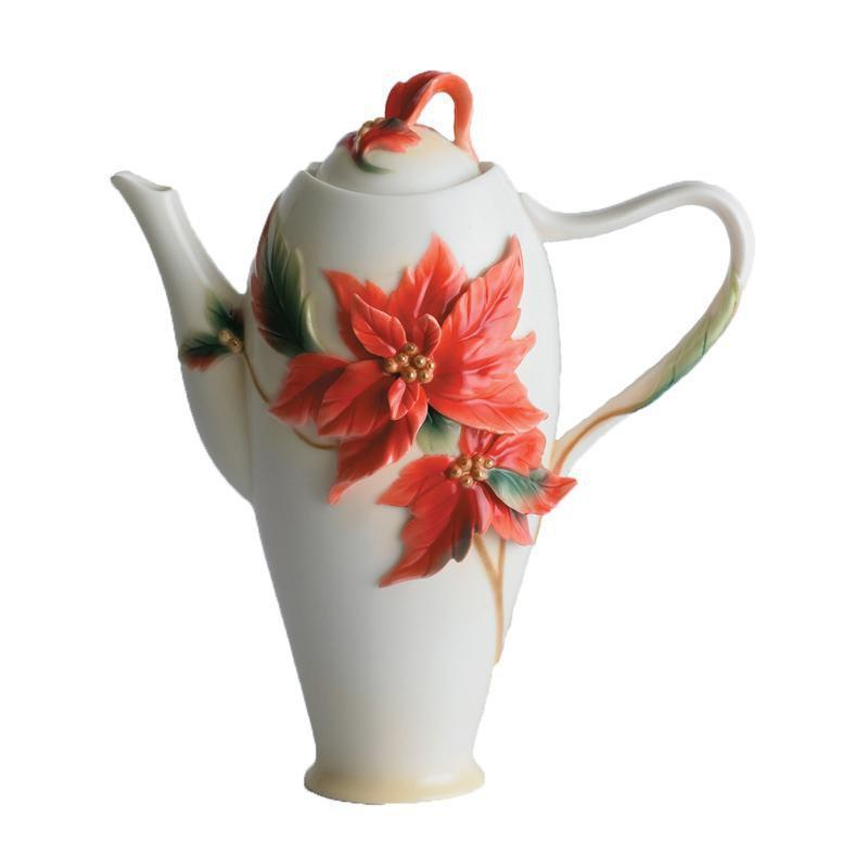 Franz Collection Holiday Classic Poinsettia Teapot FZ00893