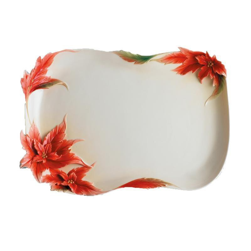 Franz Collection Holiday Classic Poinsettia Tray FZ00965
