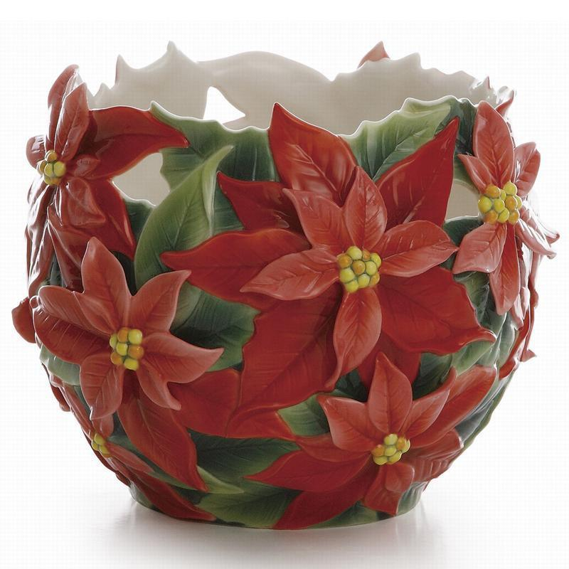Franz Collection Holiday Classic Poinsettia Vase FZ01984