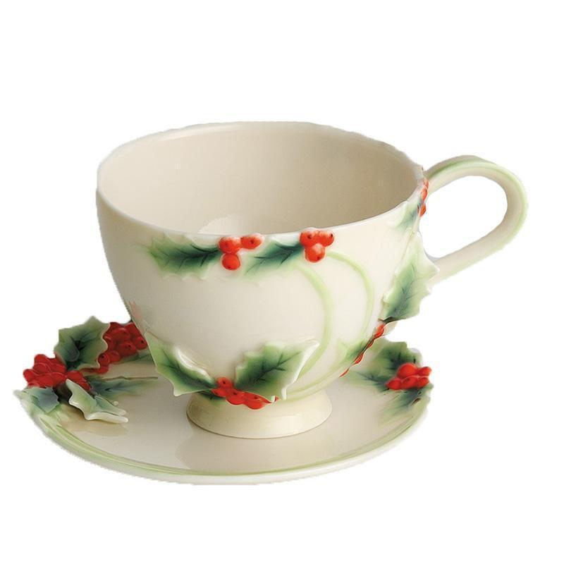 Franz Collection Holly Berries Cup Saucer & Spoon FZ00397