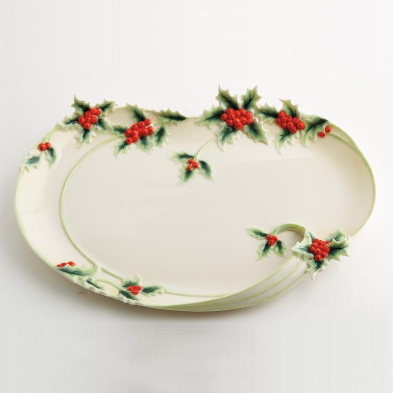 Franz Collection Holly Berries Platter FZ00420