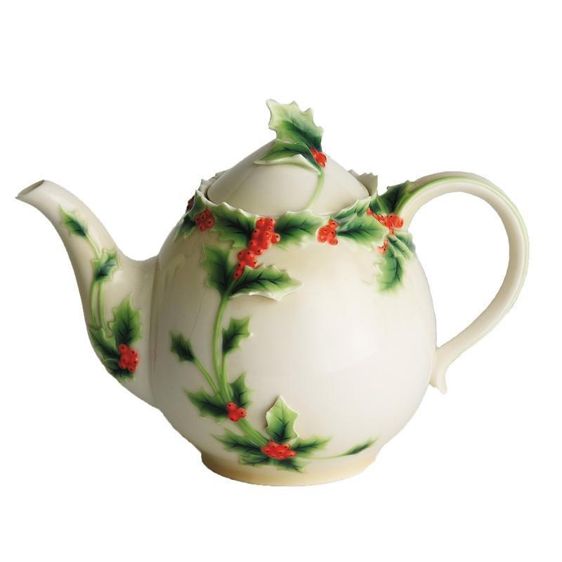 Franz Collection Holly Berries Teapot FZ00398
