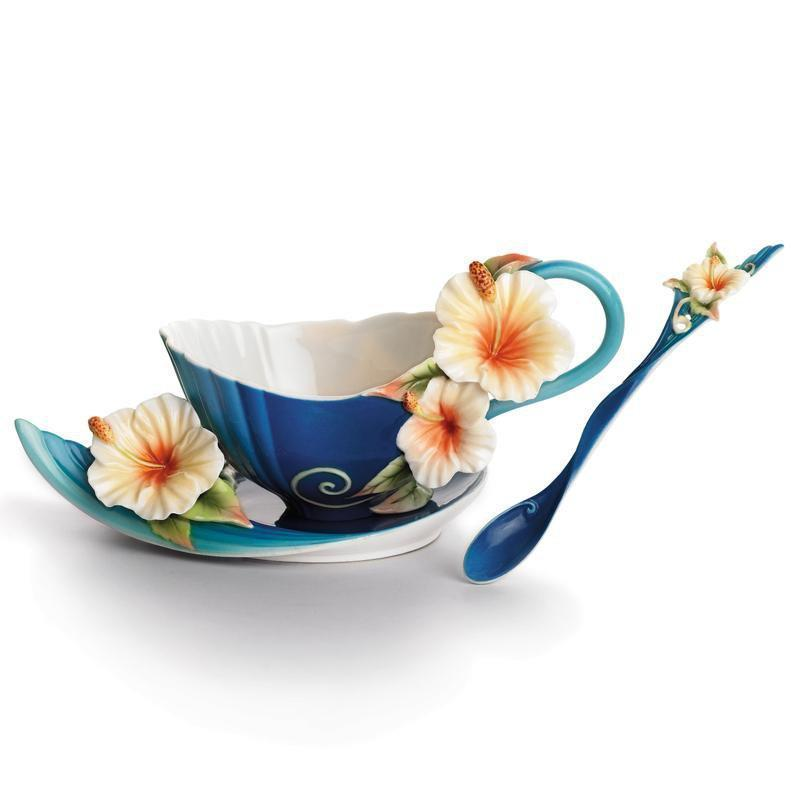 Franz Collection Island Hibiscus Teacup & Saucer FZ01779