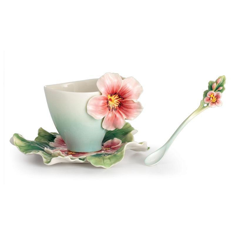 Franz Collection Joyful Geranium Teacup Saucer & Spoon FZ02372
