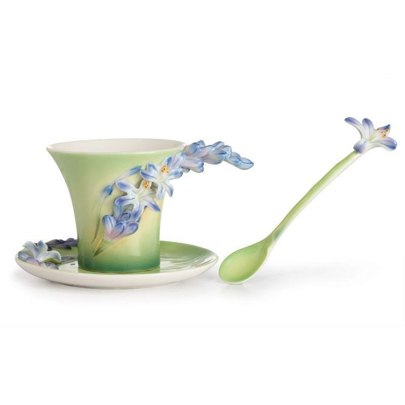 Franz Collection Lily Of The Nile Teacup Saucer & Spoon FZ02615