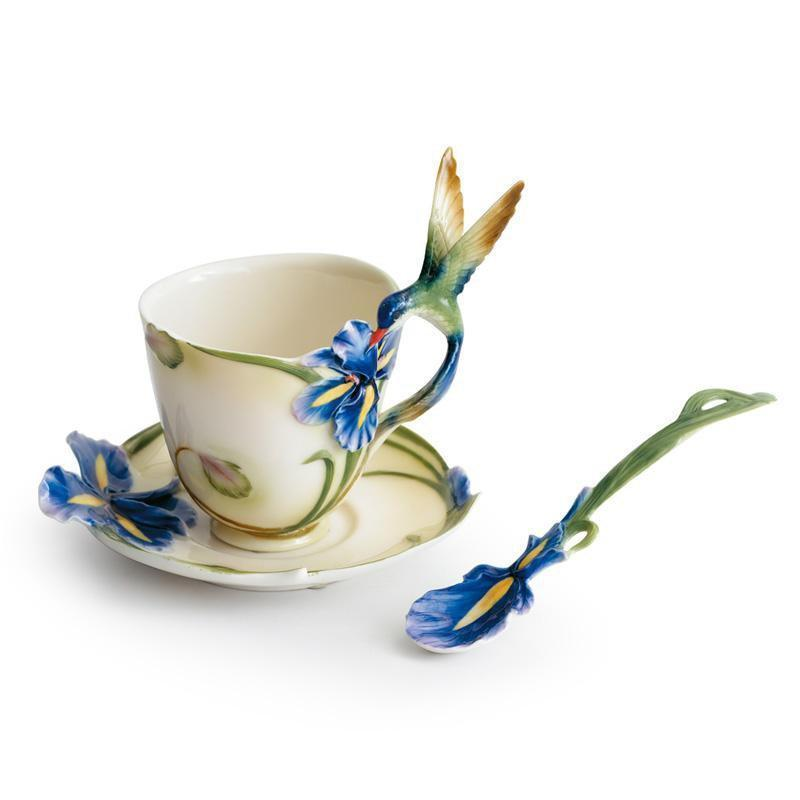 Franz Collection Longtail Hummingbird Cup Saucer & Spoon FZ00129