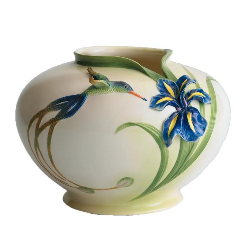 Franz Collection Longtail Hummingbird Large Round Vase FZ00128