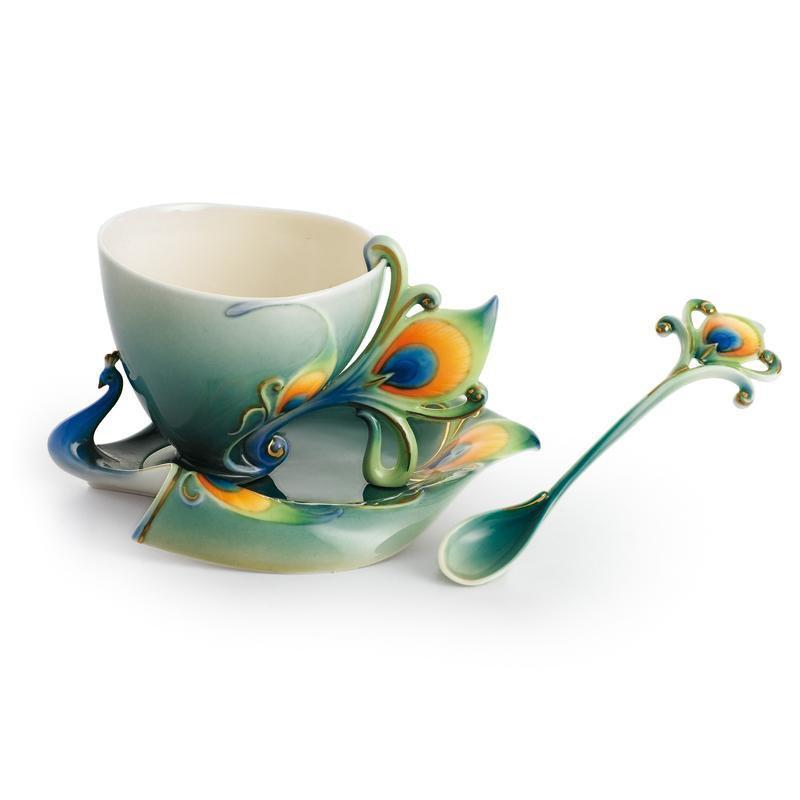 Franz Collection Luminescence Peacock Teacup & Saucer FZ01205