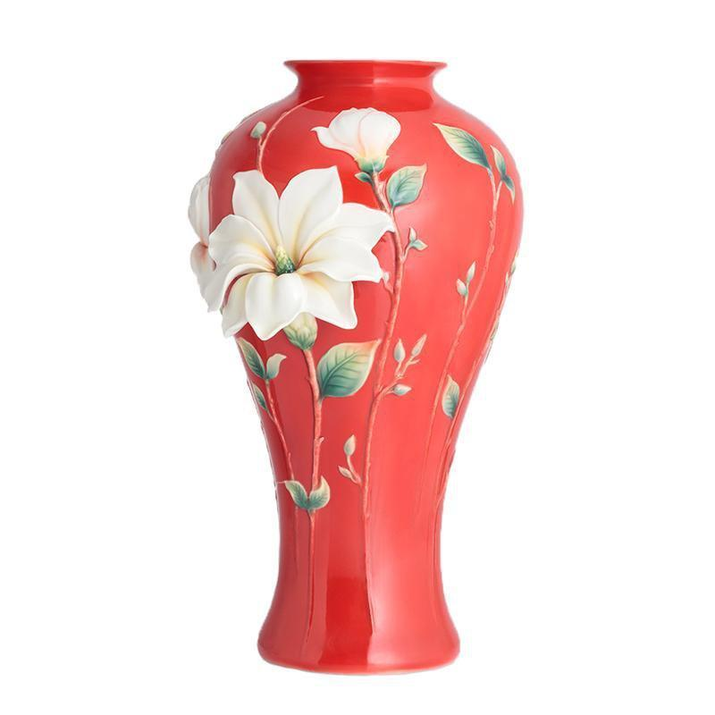 Franz Collection Magnolia Red Vase FZ02816