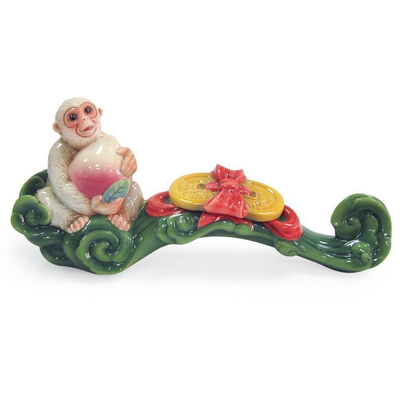 Franz Collection Monkey & Peach Ruyi Figurine FZ03473