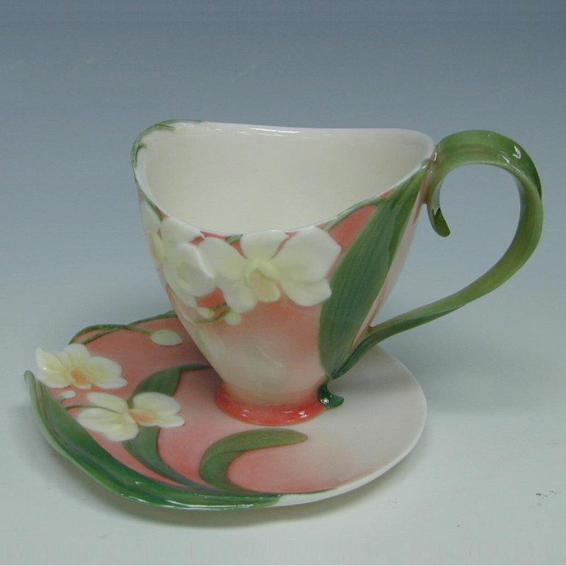 Franz Collection Moth Orchid Cup & Saucer FZ00033