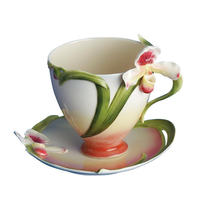 Franz Collection Orchid Cup & Saucer FZ00276