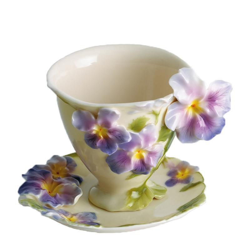 Franz Collection Pansy Cup & Saucer FZ00459