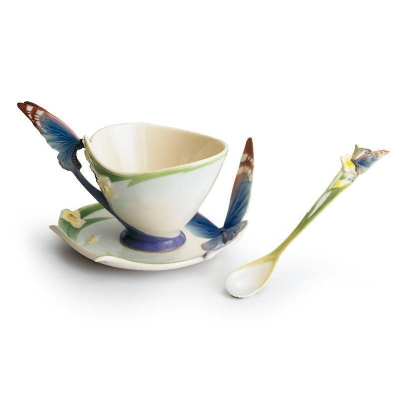 Franz Collection Papillon Butterfly Blue Teacup & Saucer FZ00213
