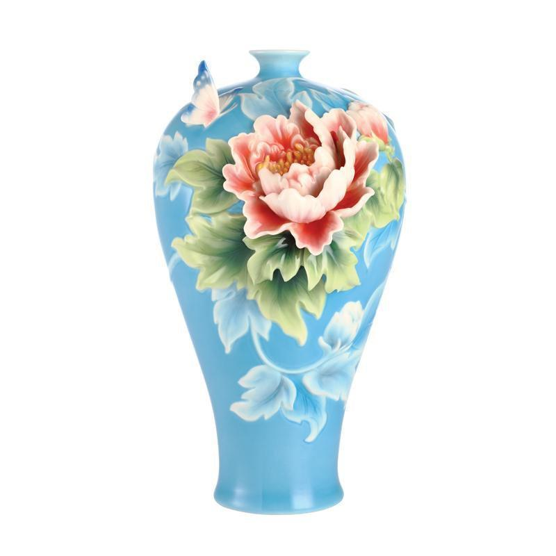 Franz Collection Papillon Butterfly & Peony Vase FZ03081