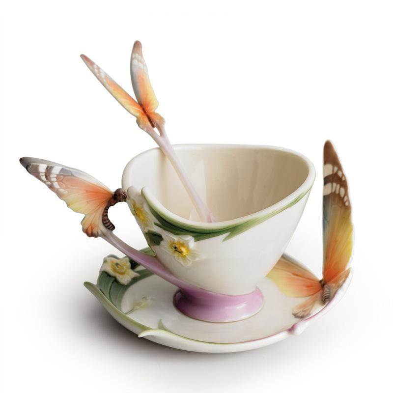 Franz Collection Papillon Butterfly Teacup & Saucer XP1693