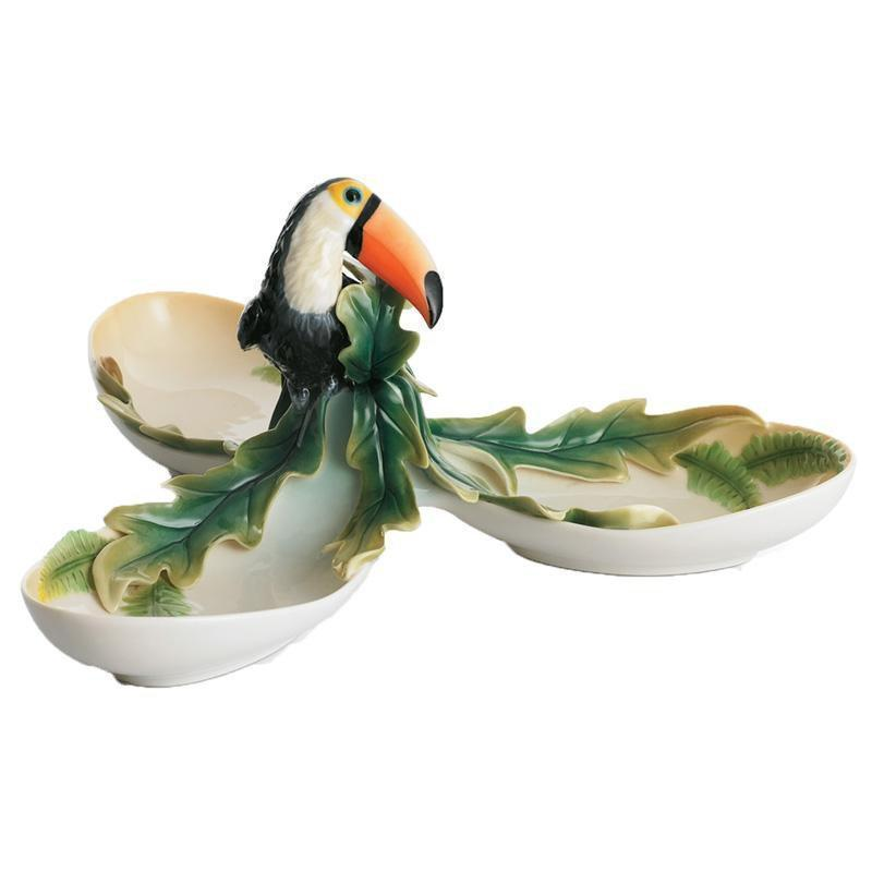 Franz Collection Paradise Calls Toucan 3 Section Tray FZ01313