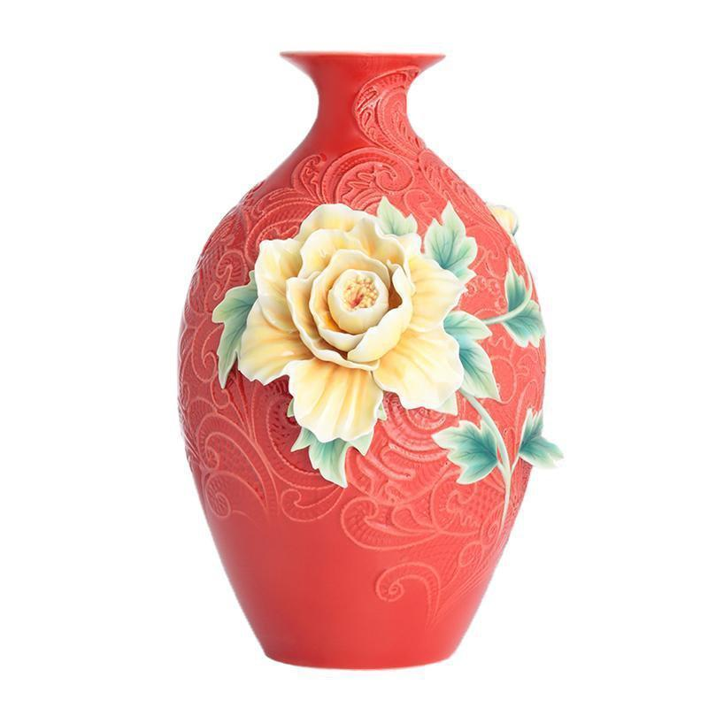 Franz Collection Peony On Lace Large Vase FZ02894