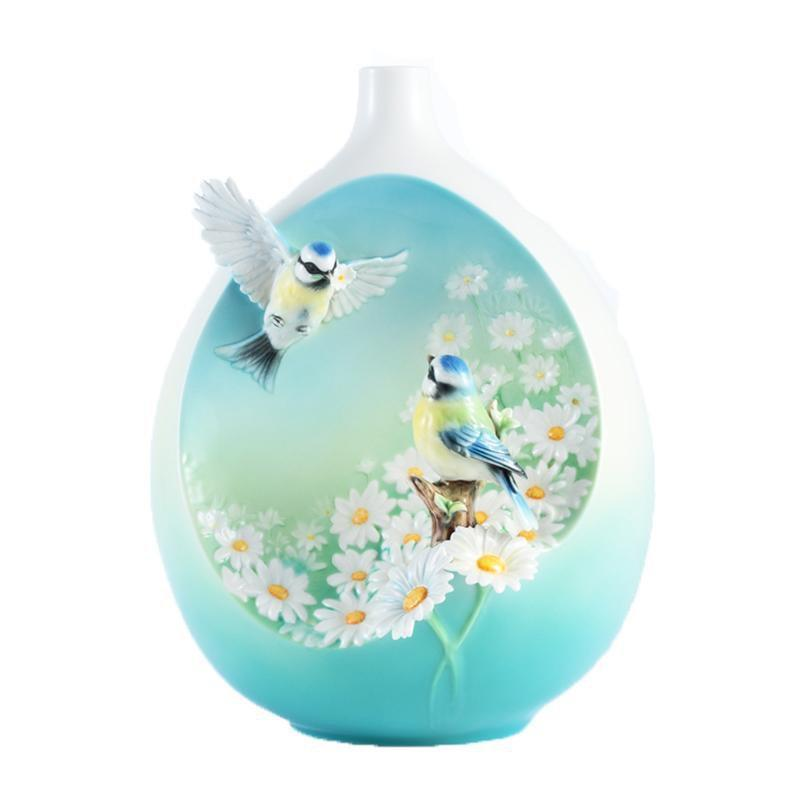 Franz Collection Perfection Chickadee & Daisy Mid Size Vase FZ02975