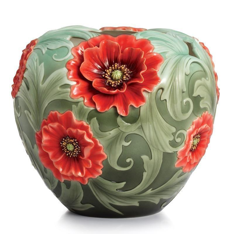 Franz Collection Poppy Flower Porcelain Mid Size Vase FZ02358