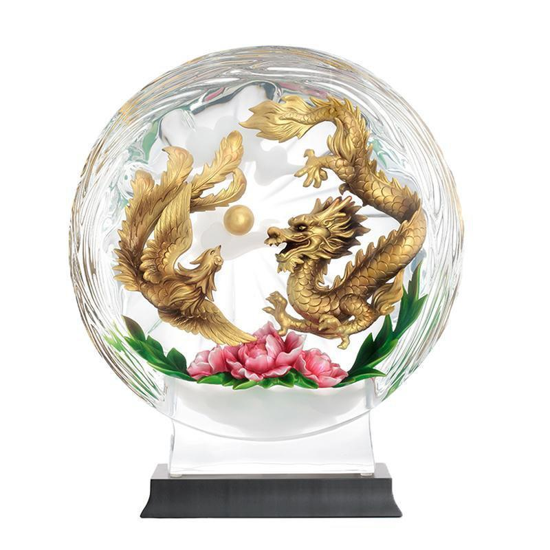 Franz Collection Prosperous Dragon Phoenix & Peony Lucite Figurine FL00121