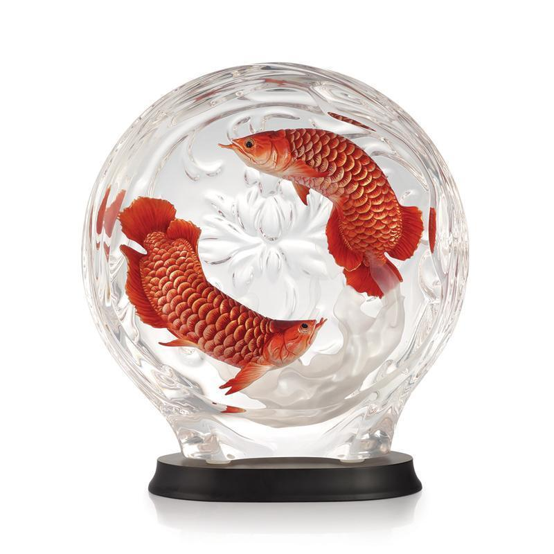 Franz Collection Red Arowana & Peony Lucite Figurine FL00129