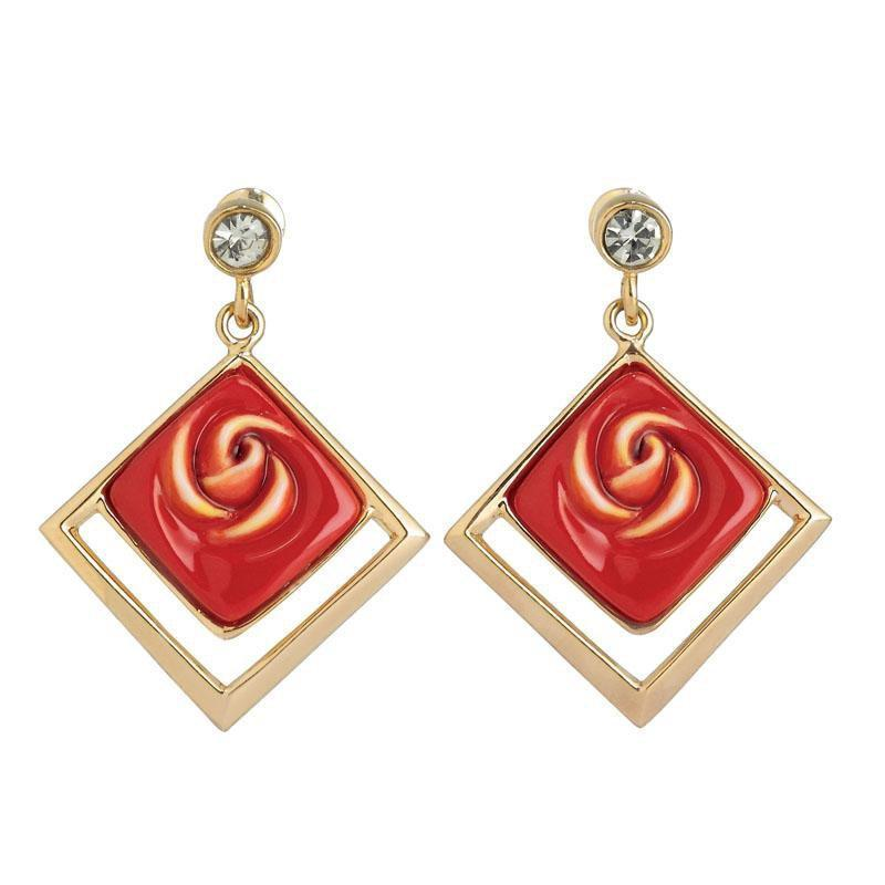 Franz Collection Red Rose Earrings FJ00285
