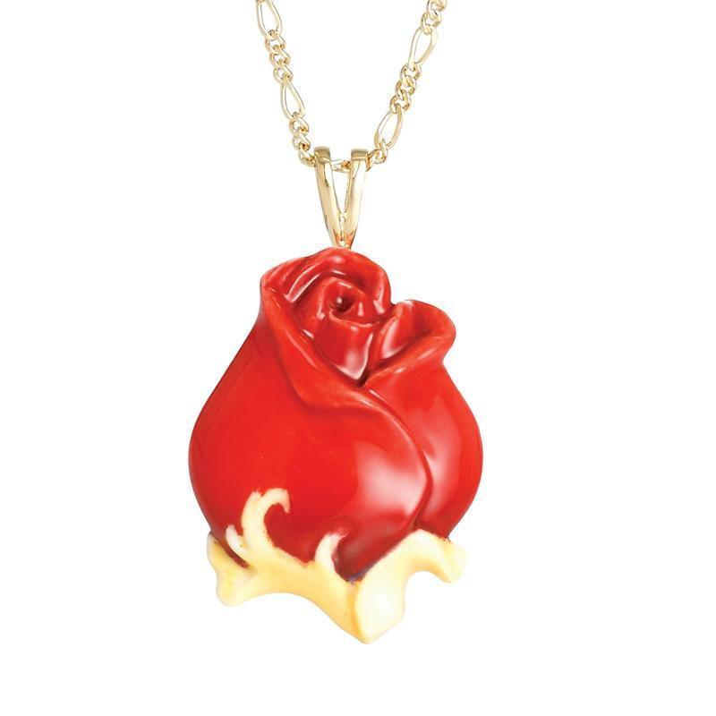 Franz Collection Red Rose Porcelain Necklace FJ00236