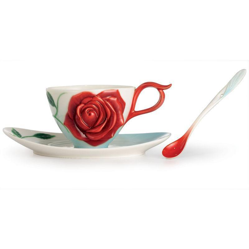 Franz Collection Romance Of The Rose Teacup Saucer & Spoon Set FZ02644