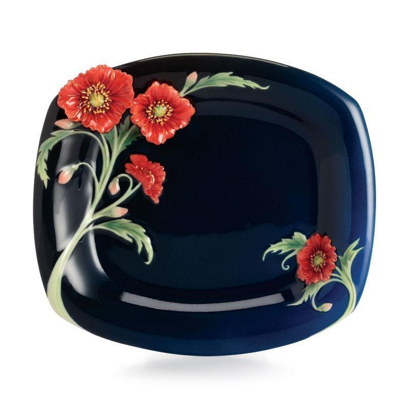 Franz Collection Serenity Poppy Flower Dessert Plate FZ02514