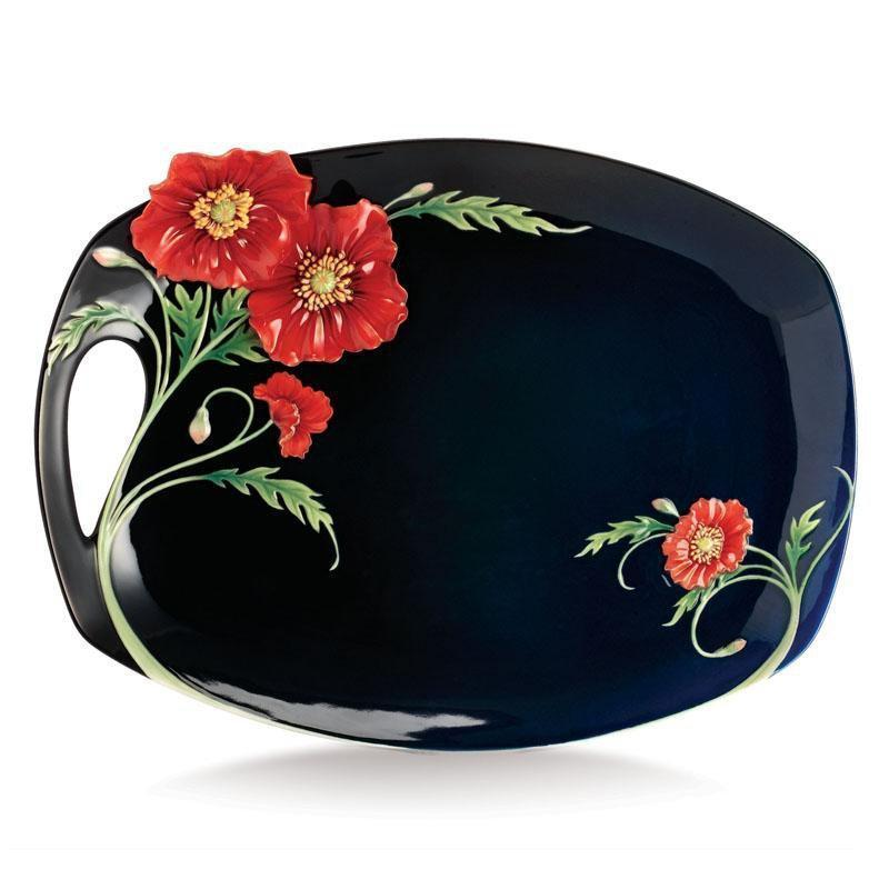 Franz Collection Serenity Poppy Flower Large Tray FZ02472
