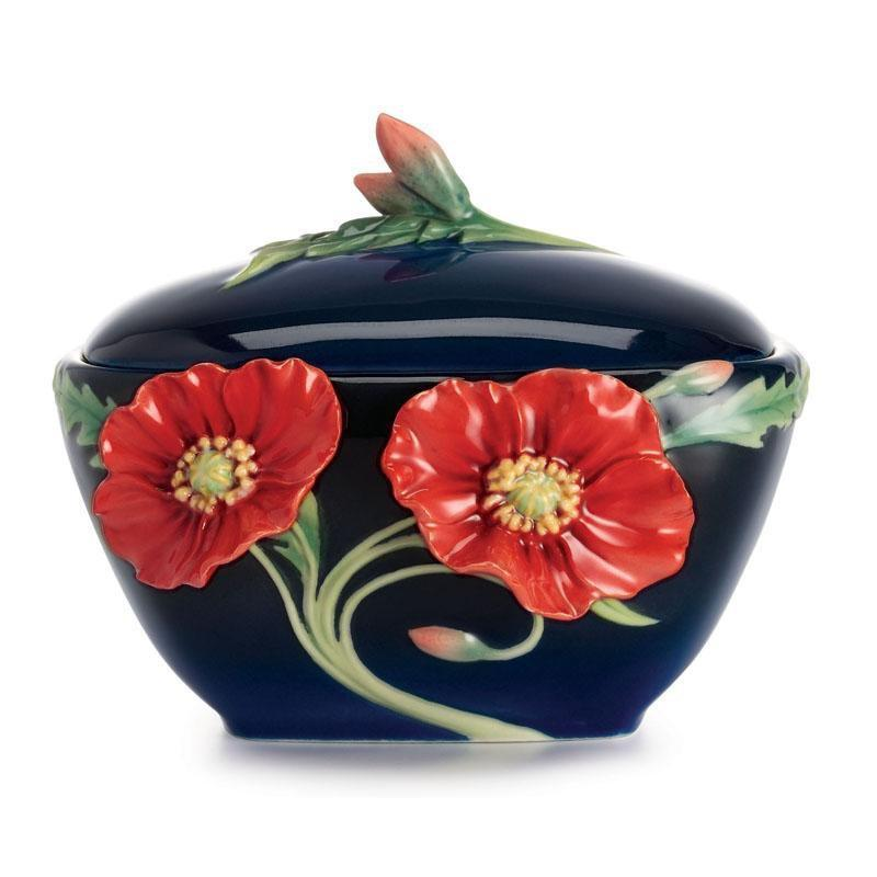 Franz Collection Serenity Poppy Flower Sugar Jar FZ02477