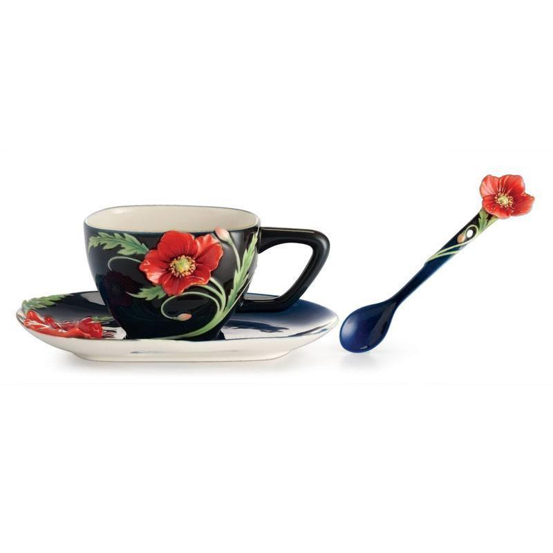 Franz Collection Serenity Poppy Flower Teacup Saucer & Spoon FZ02474