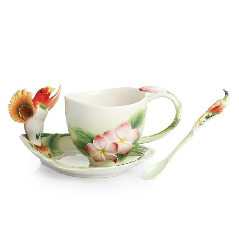 Franz Collection Shangri La Bird Of Paradise Teacup Saucer FZ02388