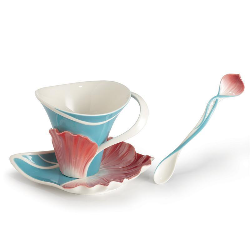 Franz Collection Spring Periwinkle Teacup Saucer & Spoon FZ02646