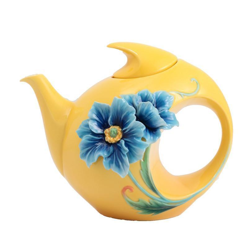 Franz Collection Strength & Will Blue Poppy Teapot FZ02872