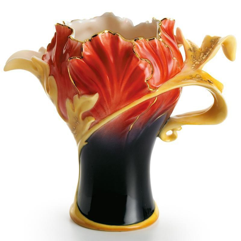 Franz Collection Striking Vermillion Peony Flower Creamer FZ01163
