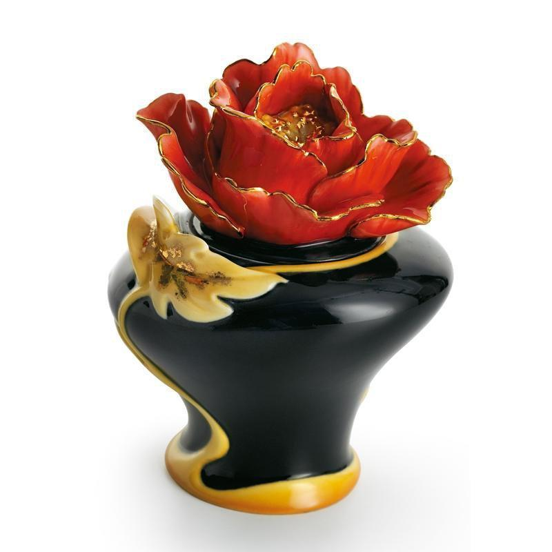 Franz Collection Striking Vermillion Peony Flower Sugar Jar FZ01167