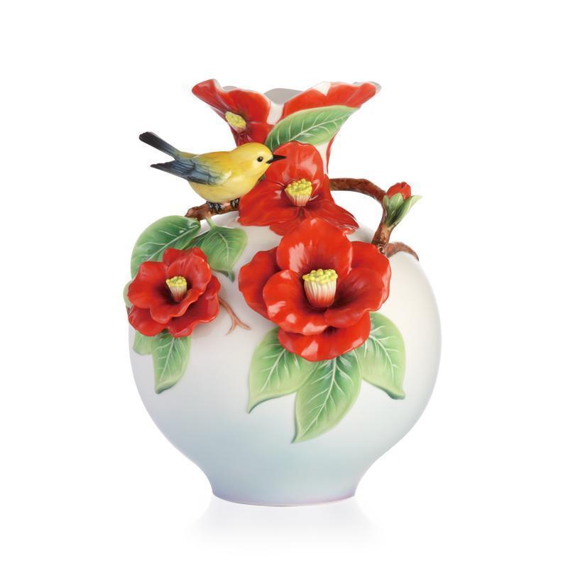 Franz Collection Sweet Encounter Prothonotary Warbler & Camellia Vase FZ02948