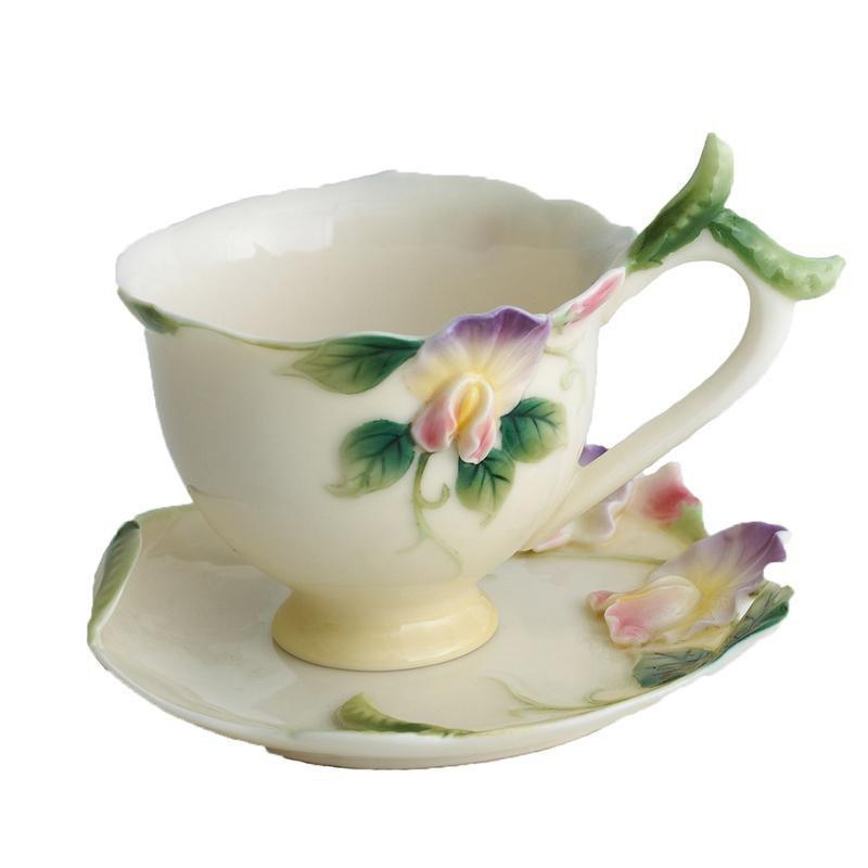 Franz Collection Sweet Pea Cup Saucer & Spoon FZ00421