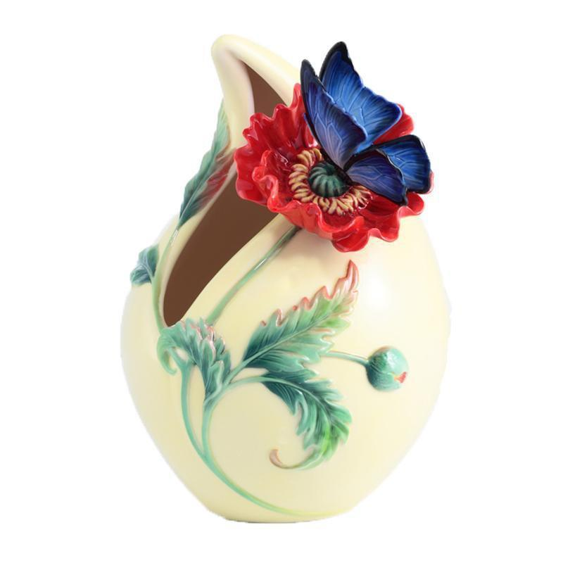 Franz Collection Sweetheart Poppy & Butterfly Small Vase FZ03018